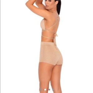 Oh Polly Shorts - Gold sparkle short set